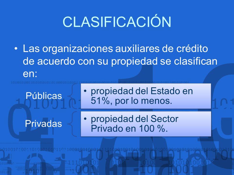 CLASIFICACIÓN Las organizaciones auxiliares de crédito de acuerdo con su propiedad se clasifican en: