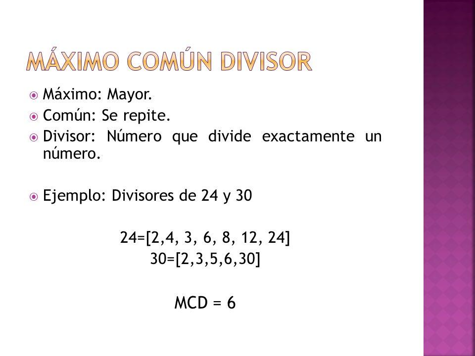 Máximo Común Divisor MCD = 6 Máximo: Mayor. Común: Se repite.