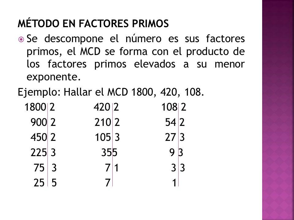 MÉTODO EN FACTORES PRIMOS