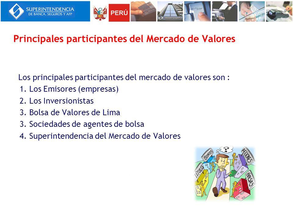 Principales participantes del Mercado de Valores