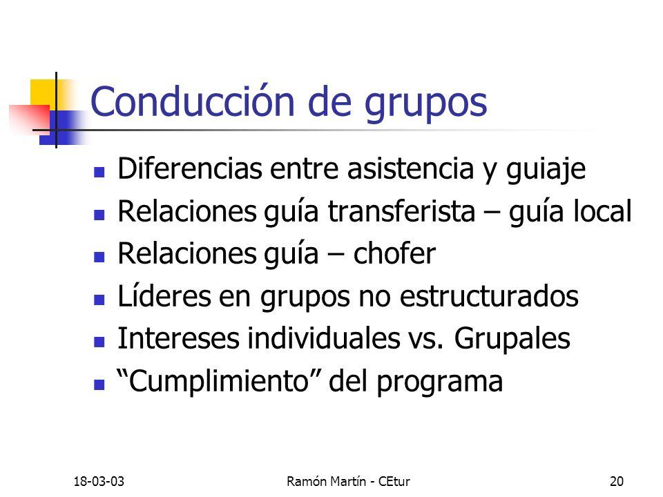 Conducción de grupos Diferencias entre asistencia y guiaje