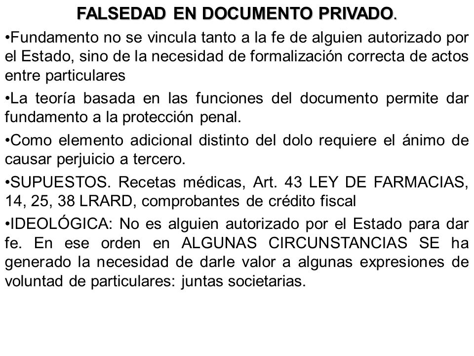 FALSEDAD EN DOCUMENTO PRIVADO.