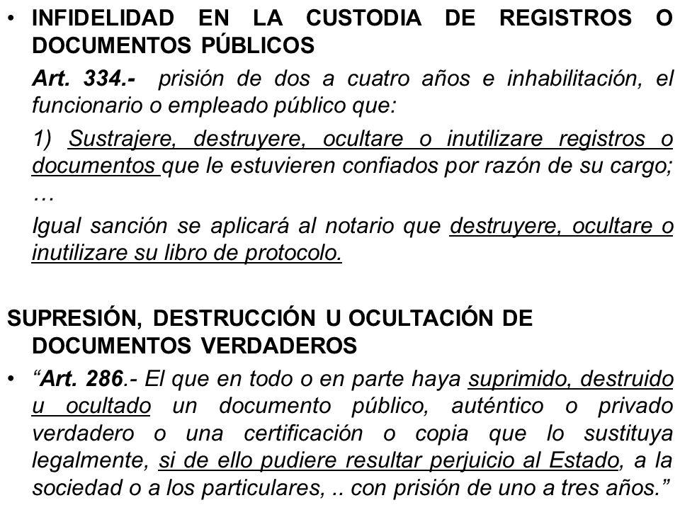 INFIDELIDAD EN LA CUSTODIA DE REGISTROS O DOCUMENTOS PÚBLICOS