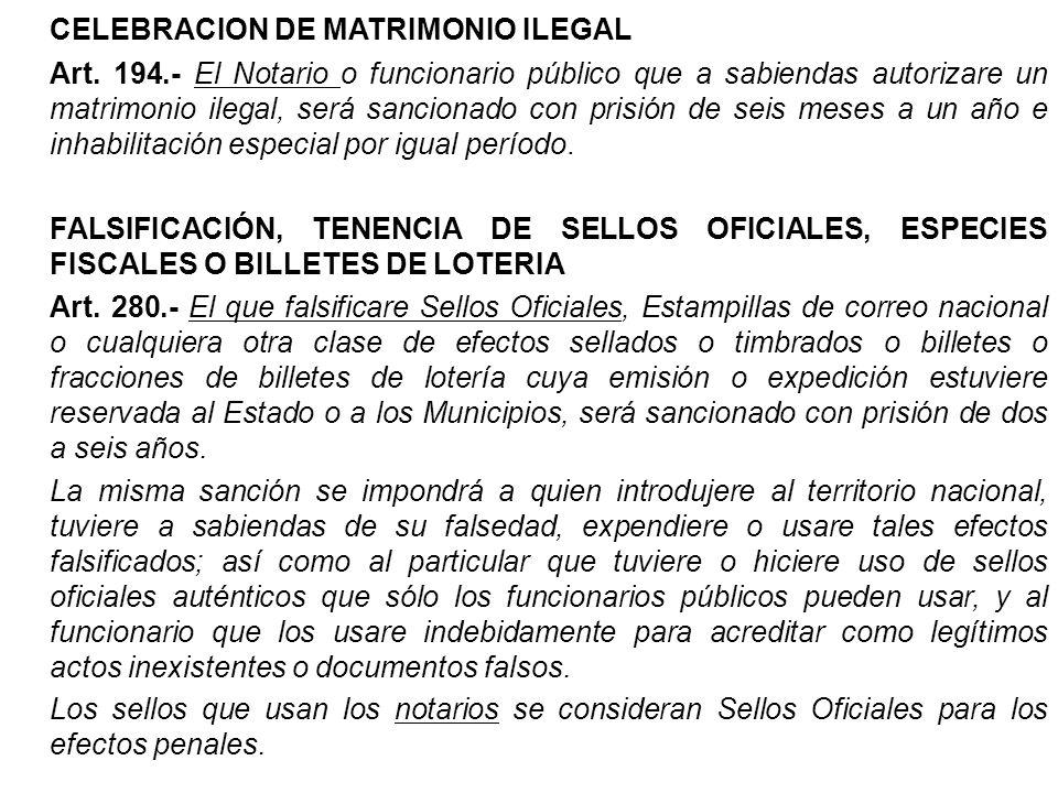 CELEBRACION DE MATRIMONIO ILEGAL