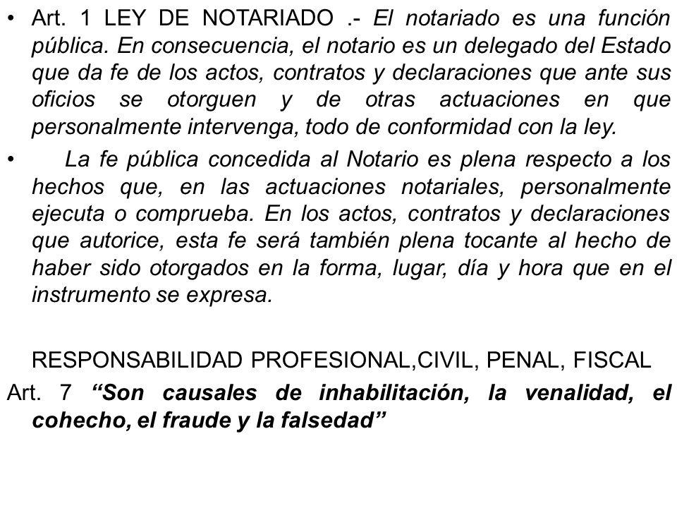 Art. 1 LEY DE NOTARIADO. - El notariado es una función pública