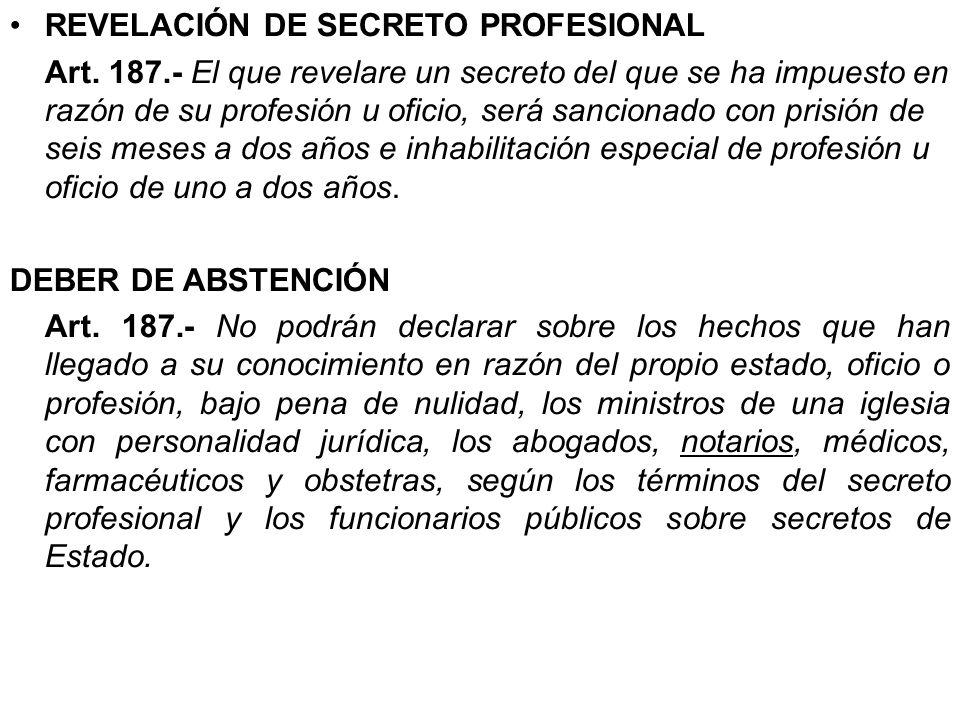REVELACIÓN DE SECRETO PROFESIONAL
