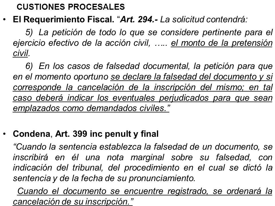 El Requerimiento Fiscal. Art. 294.- La solicitud contendrá: