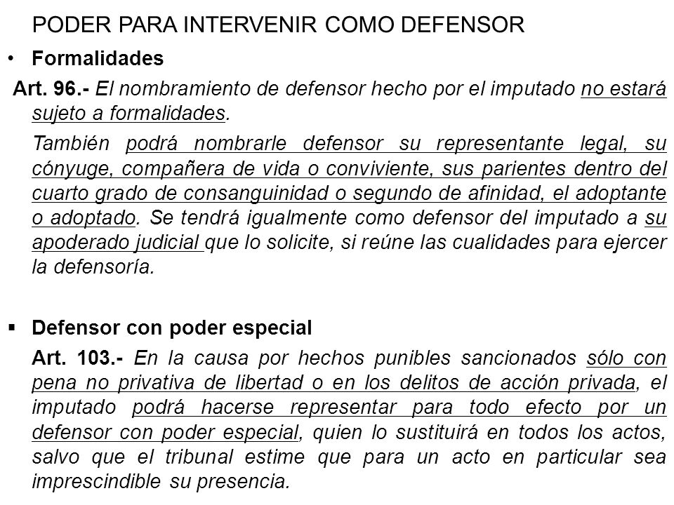 PODER PARA INTERVENIR COMO DEFENSOR