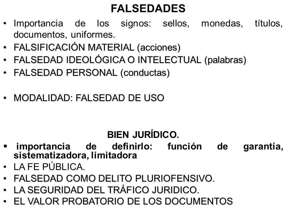 FALSEDADES Importancia de los signos: sellos, monedas, títulos, documentos, uniformes. FALSIFICACIÓN MATERIAL (acciones)