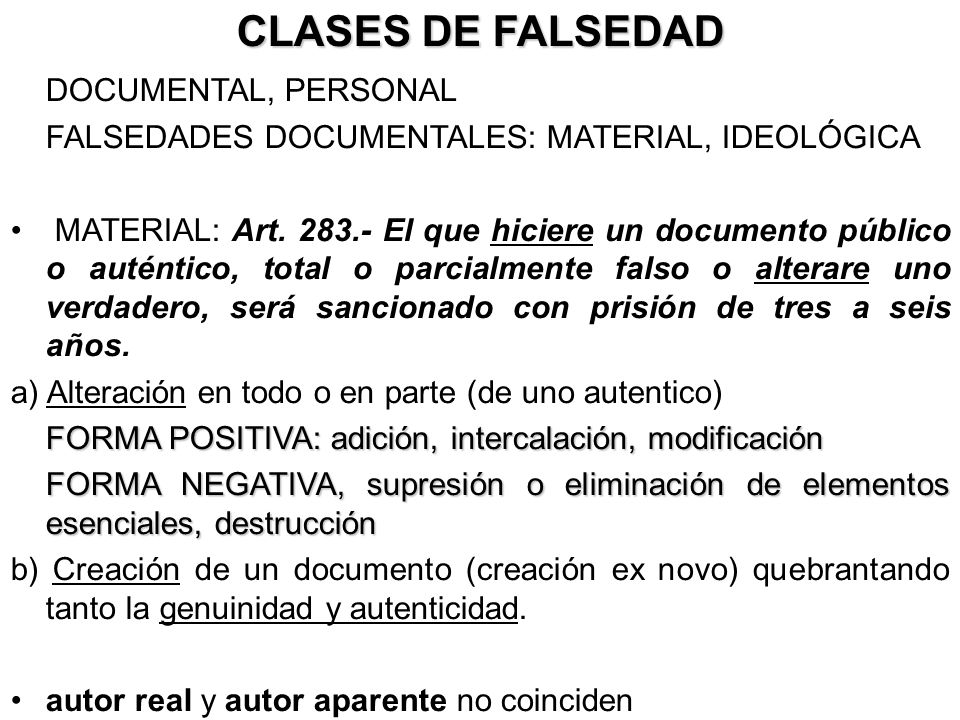 CLASES DE FALSEDAD DOCUMENTAL, PERSONAL
