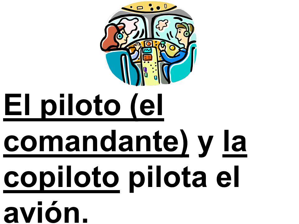 El piloto (el comandante) y la copiloto pilota el avión.