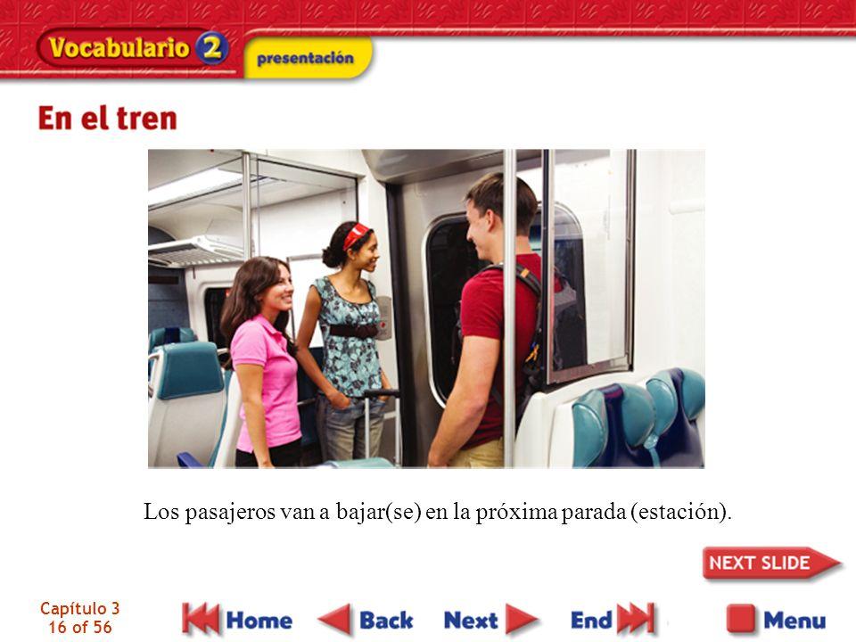Los pasajeros van a bajar(se) en la próxima parada (estación).
