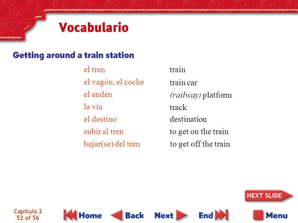 el tren train el vagón, el coche el andén train car la vía el destino