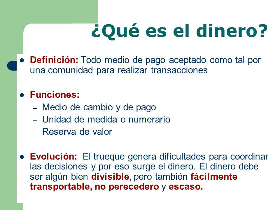¿Qué es el dinero Definición: Todo medio de pago aceptado como tal por una comunidad para realizar transacciones.