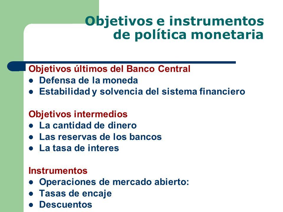 Objetivos e instrumentos de política monetaria