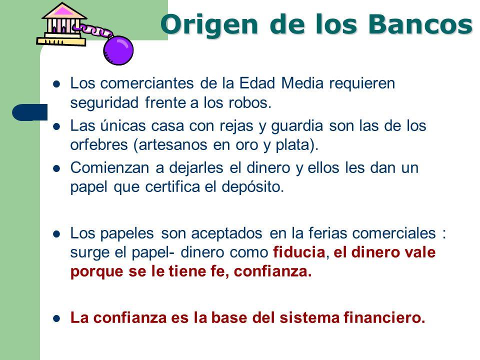 Origen de los Bancos Los comerciantes de la Edad Media requieren seguridad frente a los robos.