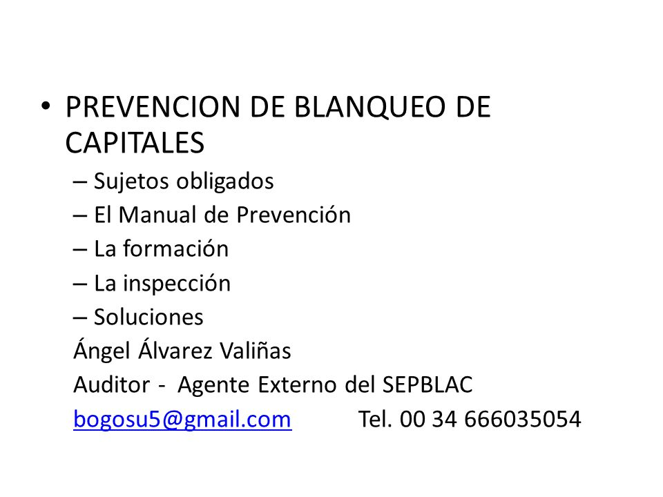 PREVENCION DE BLANQUEO DE CAPITALES