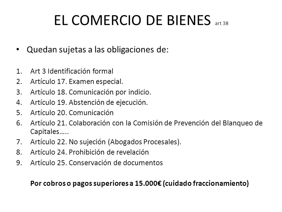 EL COMERCIO DE BIENES art 38