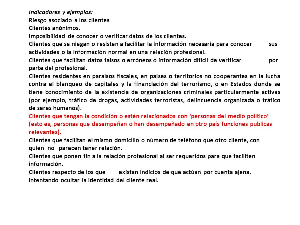Indicadores y ejemplos: