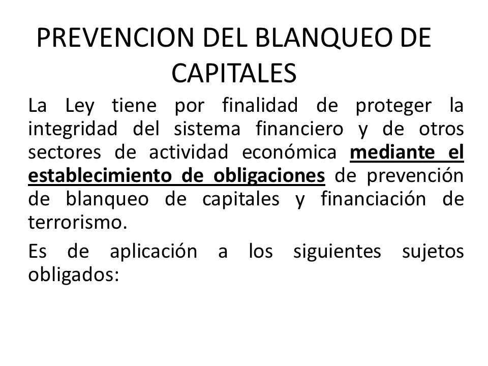 PREVENCION DEL BLANQUEO DE CAPITALES