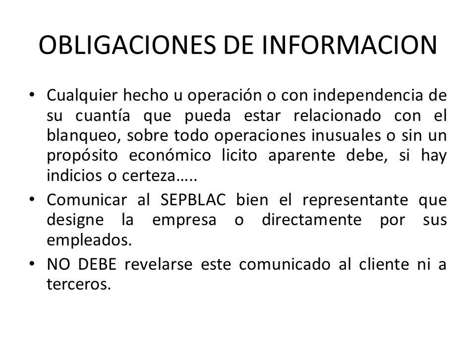 OBLIGACIONES DE INFORMACION