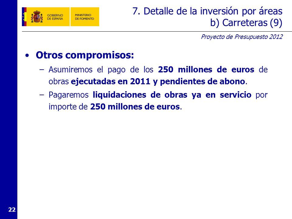 7. Detalle de la inversión por áreas c) Aeropuertos y seguridad aérea (1)