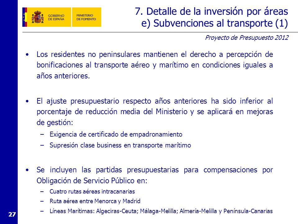 7. Detalle de la inversión por áreas e) Subvenciones al transporte (2)