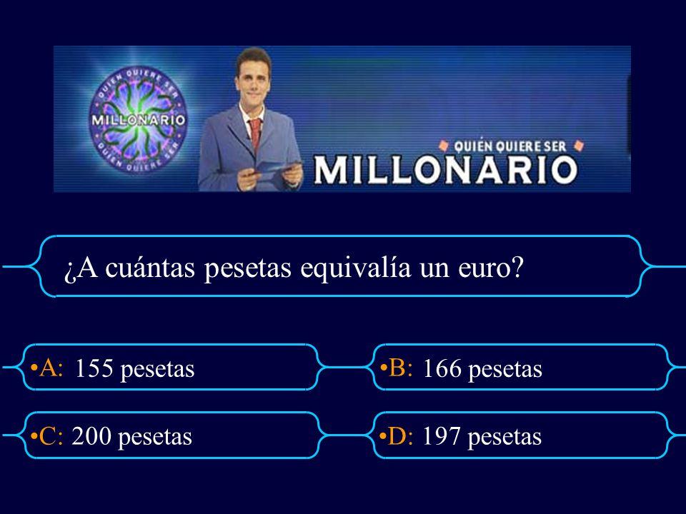 ¿A cuántas pesetas equivalía un euro