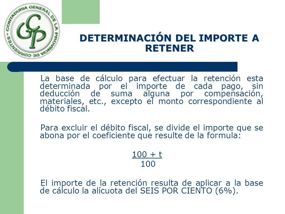 DETERMINACIÓN DEL IMPORTE A RETENER