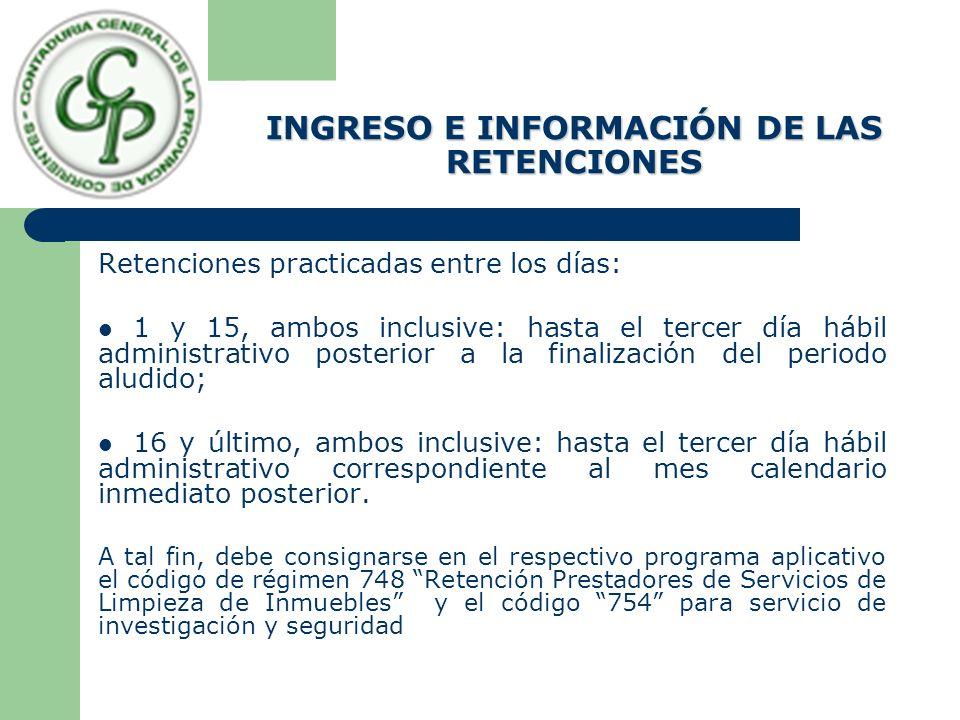 INGRESO E INFORMACIÓN DE LAS RETENCIONES