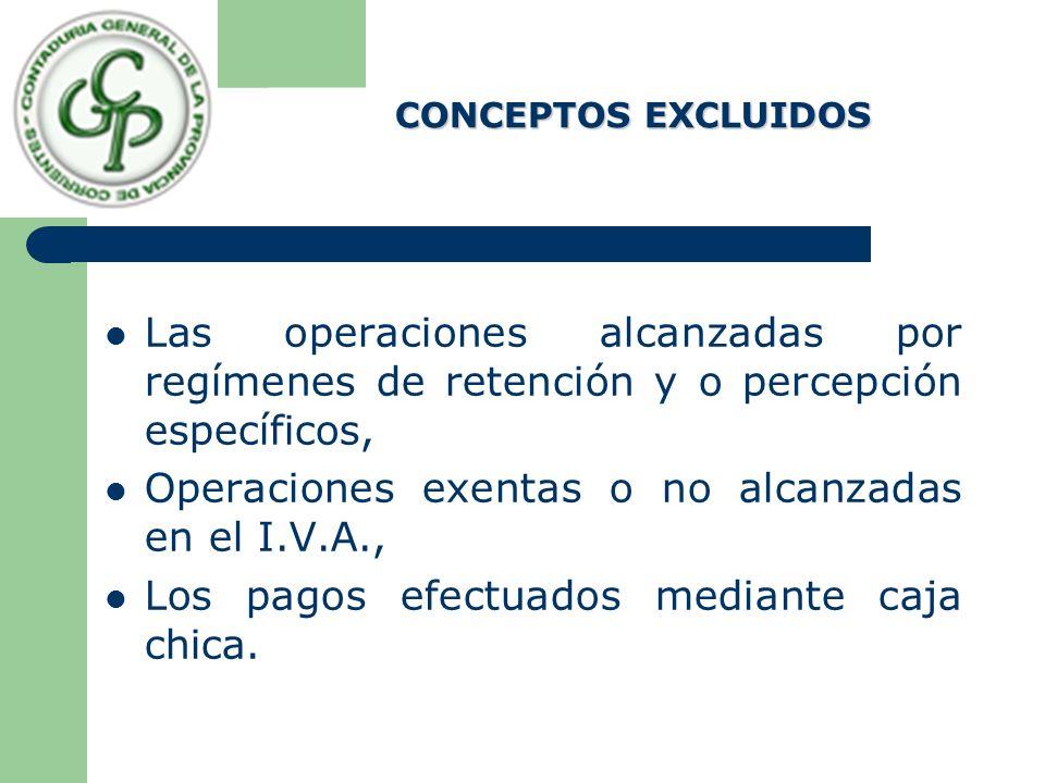 Operaciones exentas o no alcanzadas en el I.V.A.,