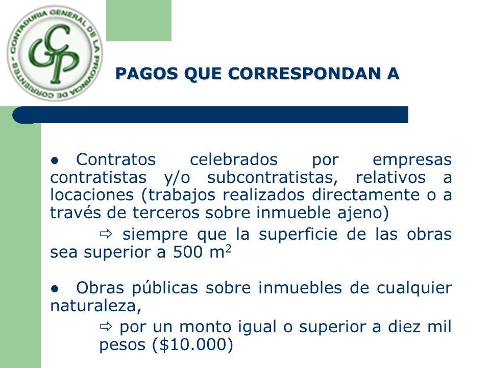 PAGOS QUE CORRESPONDAN A