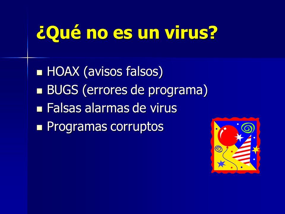 ¿Qué no es un virus HOAX (avisos falsos) BUGS (errores de programa)