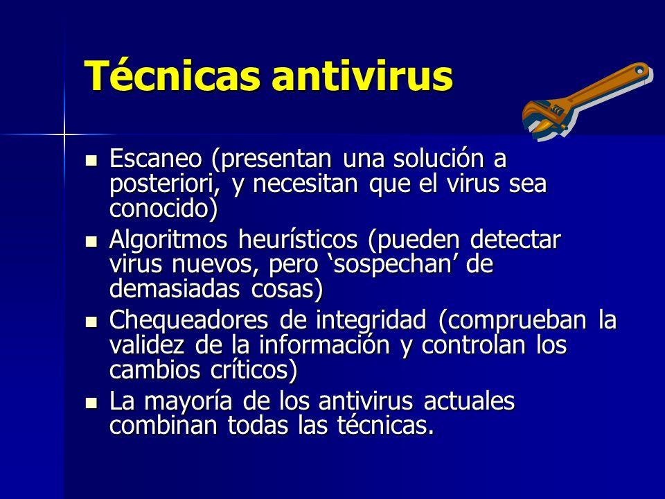 Técnicas antivirus Escaneo (presentan una solución a posteriori, y necesitan que el virus sea conocido)