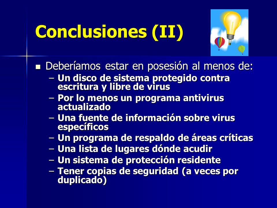 Conclusiones (II) Deberíamos estar en posesión al menos de:
