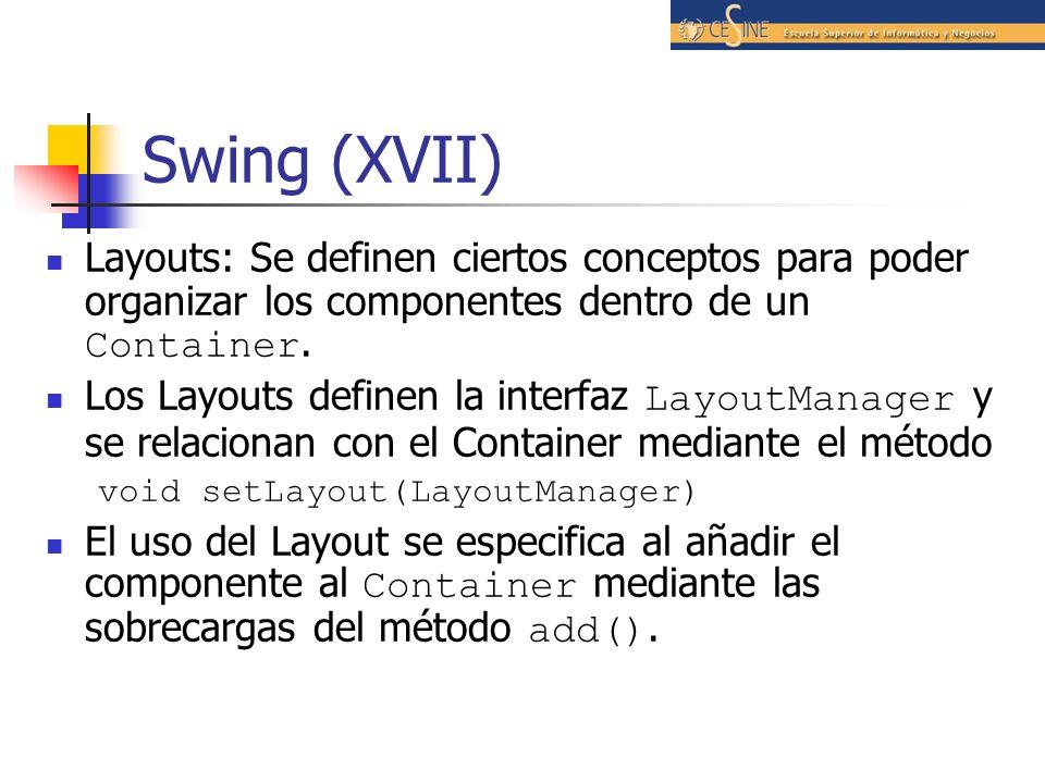 Swing (XVII)Layouts: Se definen ciertos conceptos para poder organizar los componentes dentro de un Container.