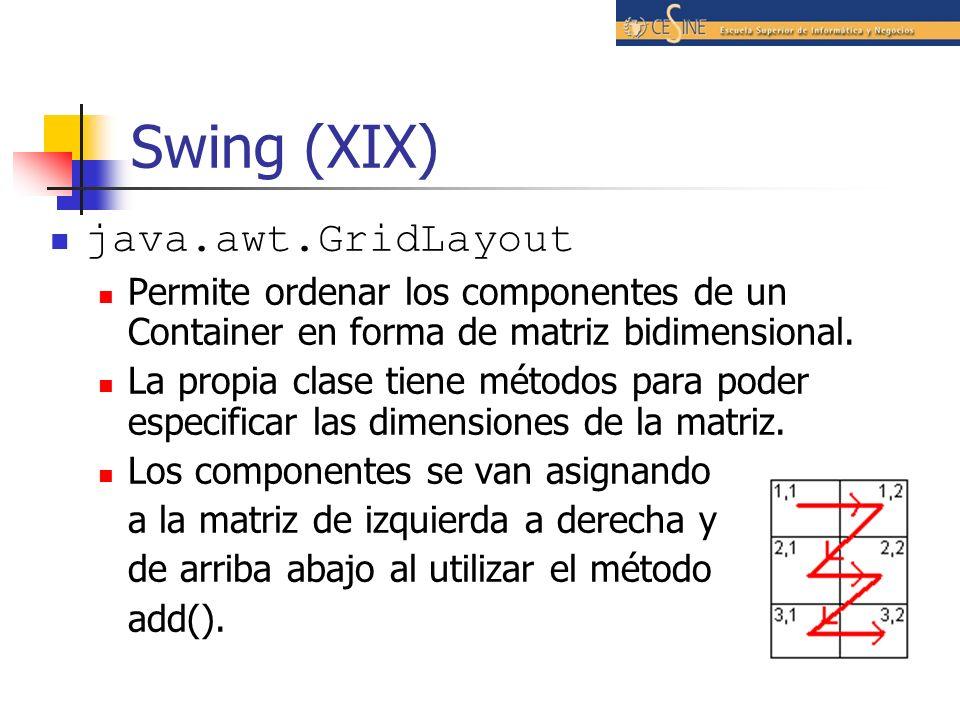 Swing (XIX) java.awt.GridLayout
