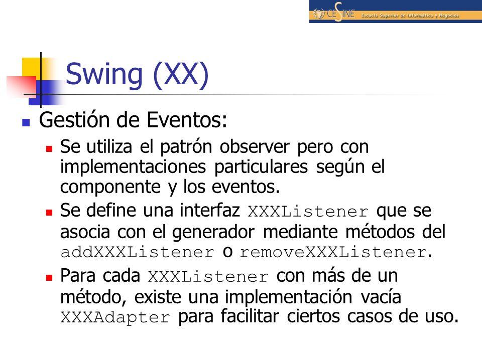 Swing (XX) Gestión de Eventos: