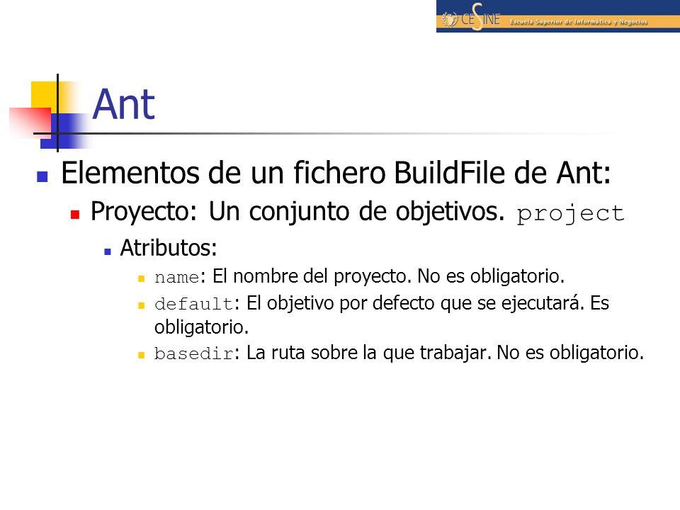 Ant Elementos de un fichero BuildFile de Ant: