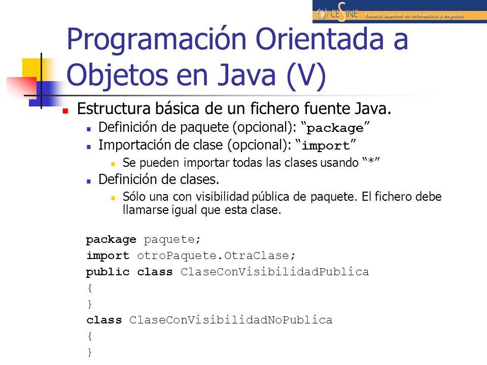Programación Orientada a Objetos en Java (V)