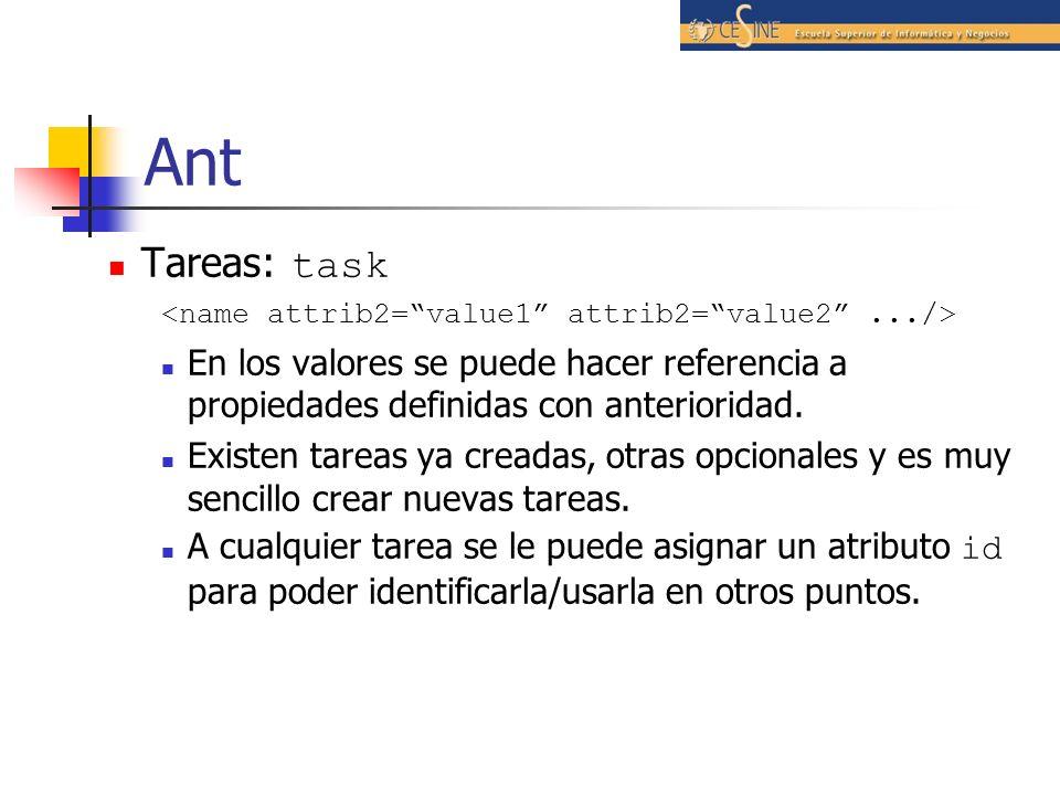 Ant Tareas: task. <name attrib2= value1 attrib2= value2 .../> En los valores se puede hacer referencia a propiedades definidas con anterioridad.