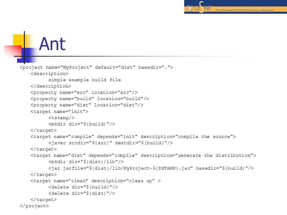 Ant <project name= MyProject default= dist basedir= . >