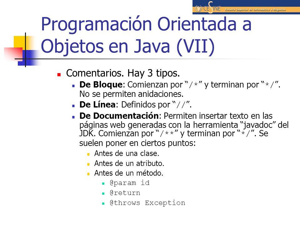 Programación Orientada a Objetos en Java (VII)