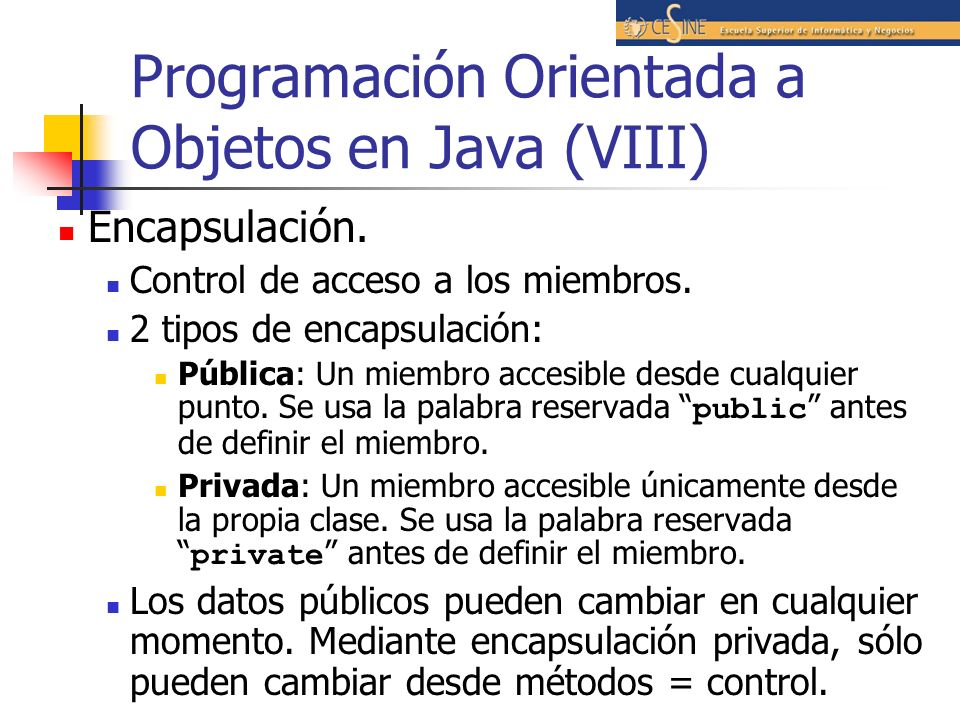 Programación Orientada a Objetos en Java (VIII)