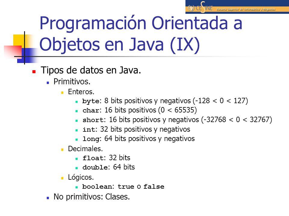 Programación Orientada a Objetos en Java (IX)