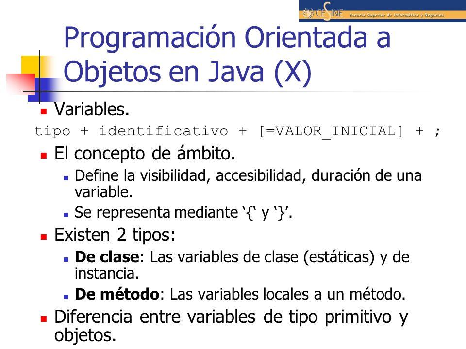 Programación Orientada a Objetos en Java (X)