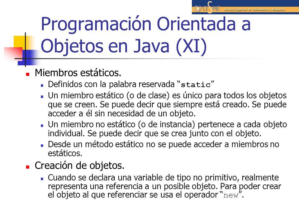 Programación Orientada a Objetos en Java (XI)