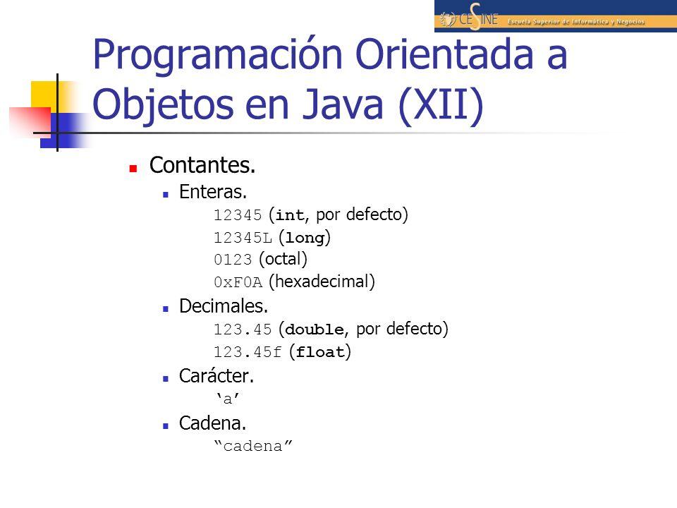 Programación Orientada a Objetos en Java (XII)