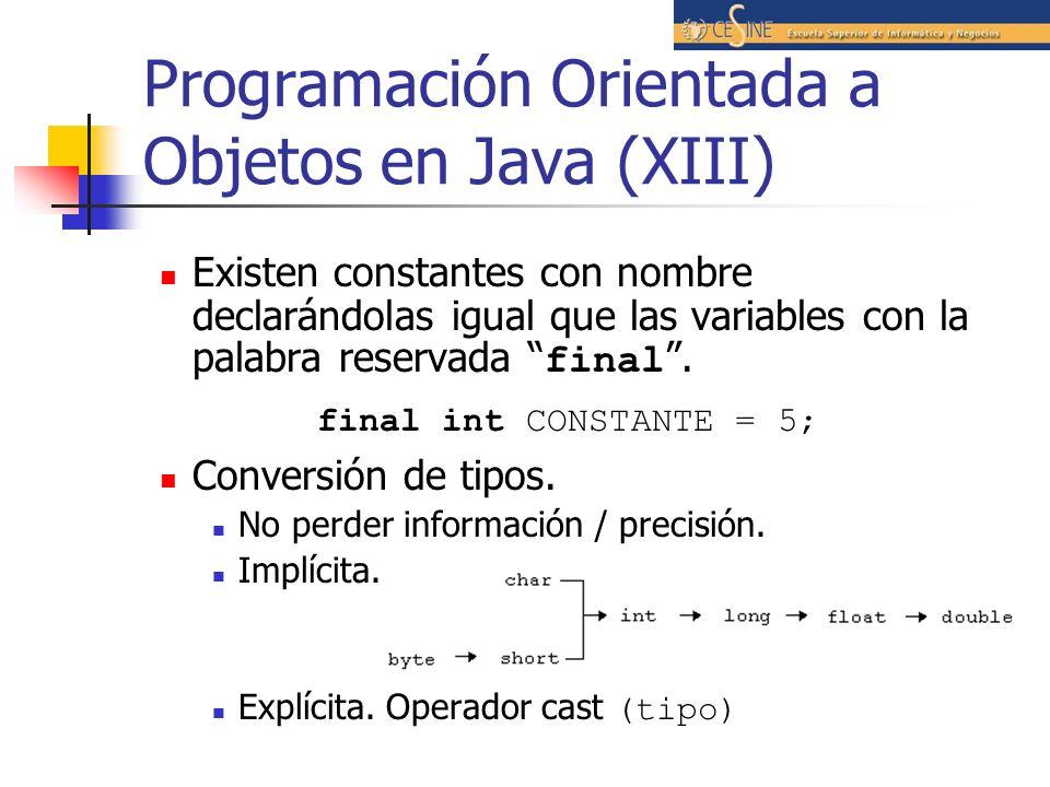 Programación Orientada a Objetos en Java (XIII)