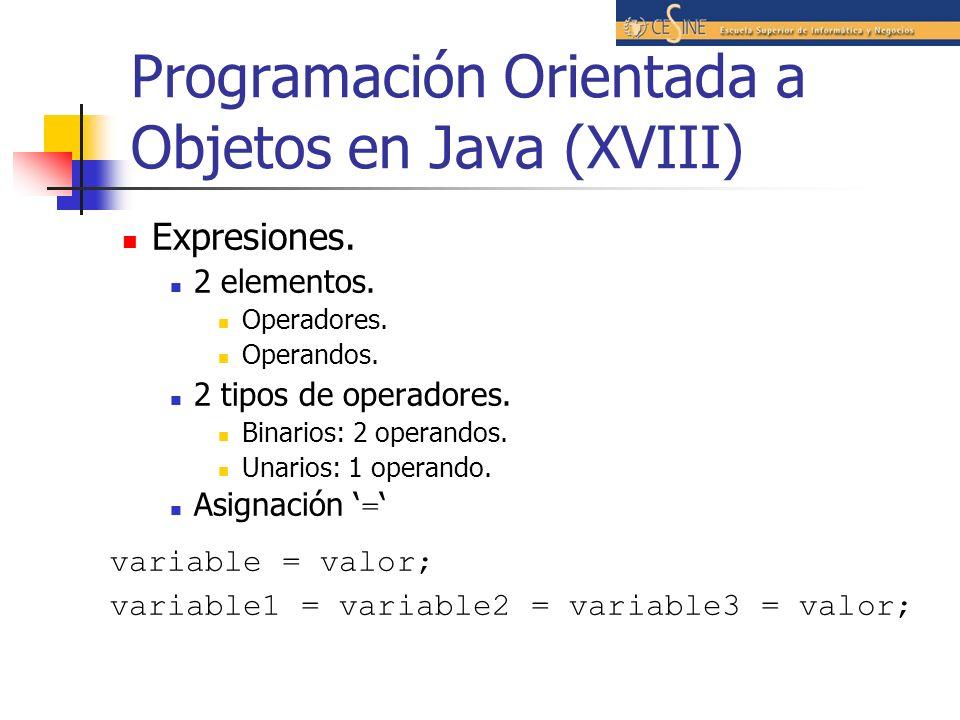 Programación Orientada a Objetos en Java (XVIII)